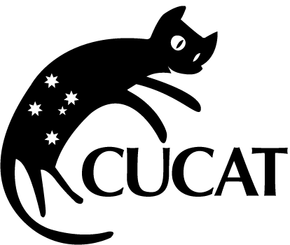 The CUCAT logo. A cat with the stars of the Southern Cross on it over the letters CUCAT.